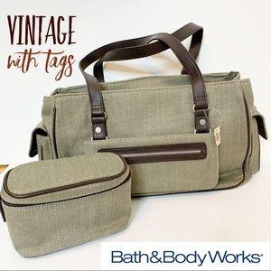 BATH & BODY WORKS Vintage Brown Tweed Tote Set